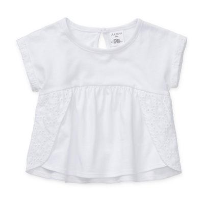 Okie Dokie Baby Girls Round Neck Short Sleeve Peasant Top