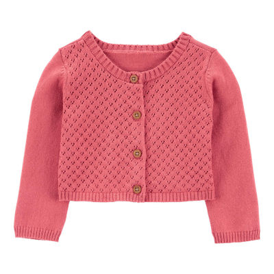 Carter's - Baby Girls Crew Neck Short Sleeve Cardigan