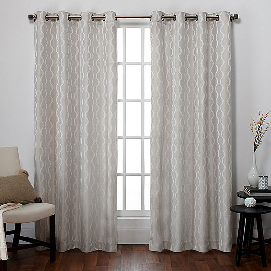 Exclusive Home Curtains Baroque Light-Filtering Grommet-Top Set of 2 Curtain Panel