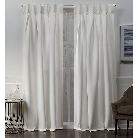 Exclusive Home Curtains Sateen Button Energy Saving Blackout Back-Tab Set of 2 Curtain Panel