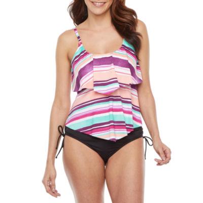 Liz Claiborne Striped Tankini Swimsuit Top