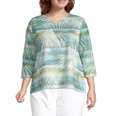 Alfred Dunner Plus Chesapeake Bay-Womens Split Crew Neck 3/4 Sleeve T-Shirt