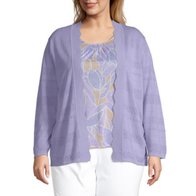 Alfred Dunner Nantucket Womens Round Neck Long Sleeve Layered Sweaters-Plus