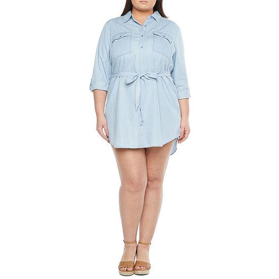 a.n.a-Plus Shirt Dress 3/4 Sleeve High-Low Shirt Dress