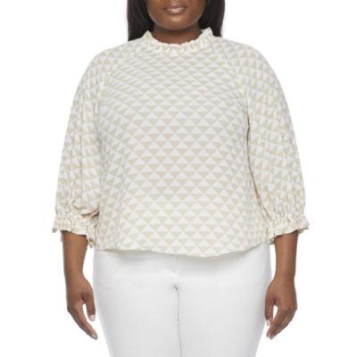 Worthington-Plus Womens High Neck 3/4 Sleeve Blouse
