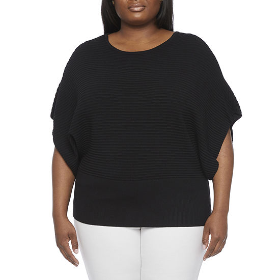 Worthington-Plus Womens Crew Neck 3/4 Sleeve Pullover Sweater
