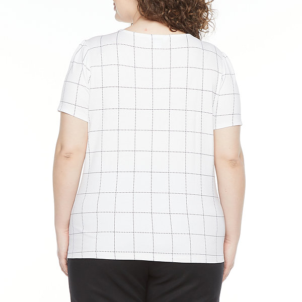 Liz Claiborne-Plus Womens Scoop Neck Short Sleeve Knit Blouse