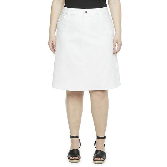 Liz Claiborne Womens Denim Skirt-Plus