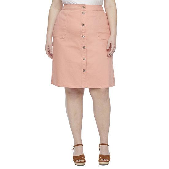 Liz Claiborne Womens Midi Denim Skirt-Plus