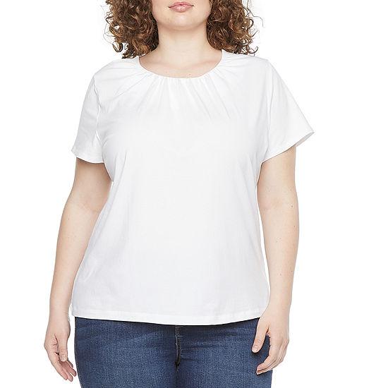 Liz Claiborne-Plus Womens Crew Neck Short Sleeve Blouse