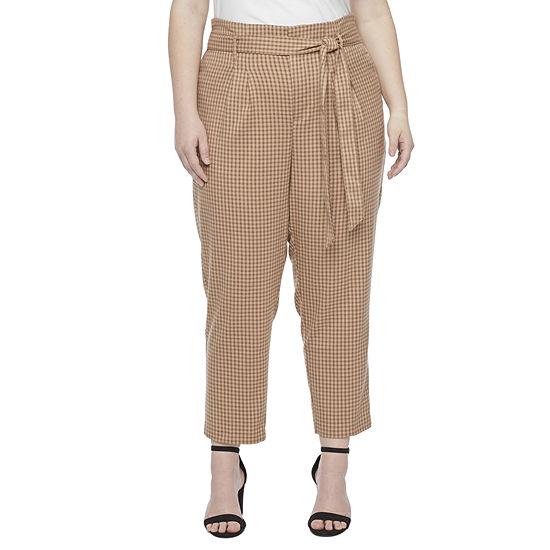 Liz Claiborne Womens Mid Rise Tie Waist Pull-On Pants - Plus