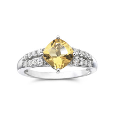 Genuine Citrine & Lab-Created White Sapphire Sterling Silver Cocktail Ring