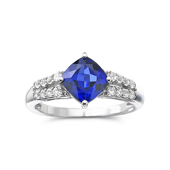 Lab-Created Blue & White Sapphire Ring Sterling Silver