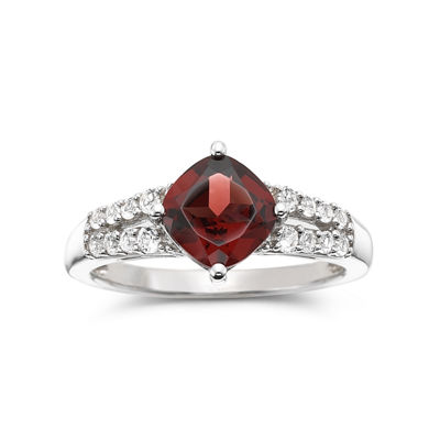 Genuine Garnet & Lab-Created White Sapphire Sterling Silver Ring