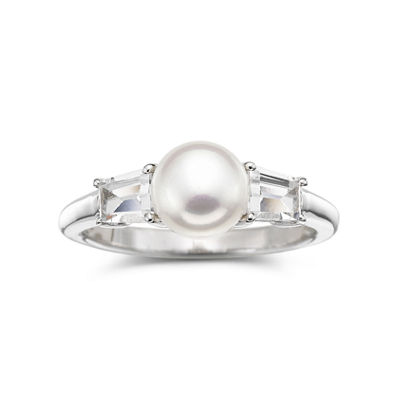 Cultured Freshwater Pearl & Lab-Created White Sapphire 3-Stone Ring in Sterling Silver