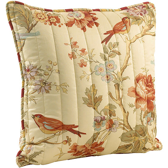Waverly® Charleston Chirp Papaya Quilted Decorative Pillow