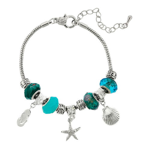 Dazzling Designs™ Silver-Plated Blue Artisan Glass Bead & Beachy Charm Bracelet