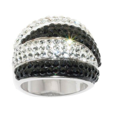 Sparkle Allure Silver Tone Black & White Crystal Stripe Band