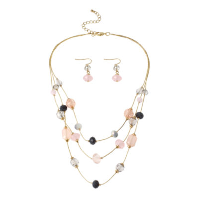 Mixit™ Multicolor Pastel Beads 3-Row Illusion Necklace and Earring Set