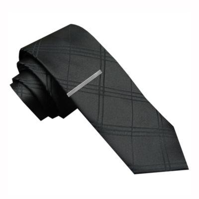 JF J. Ferrar® Tonal Plaid Tie and Tie Bar Set - Skinny