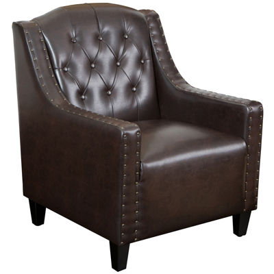 Flynn Tufted Bonded Leather Club Chair
