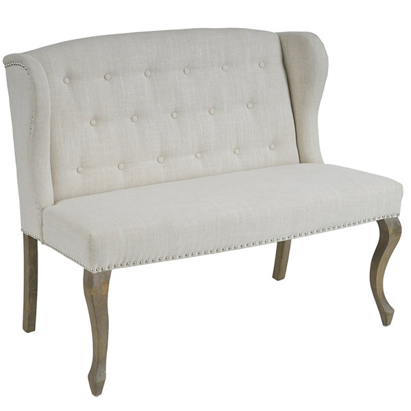 Mirabella Wingback Tufted Settee with Nailhead Trim