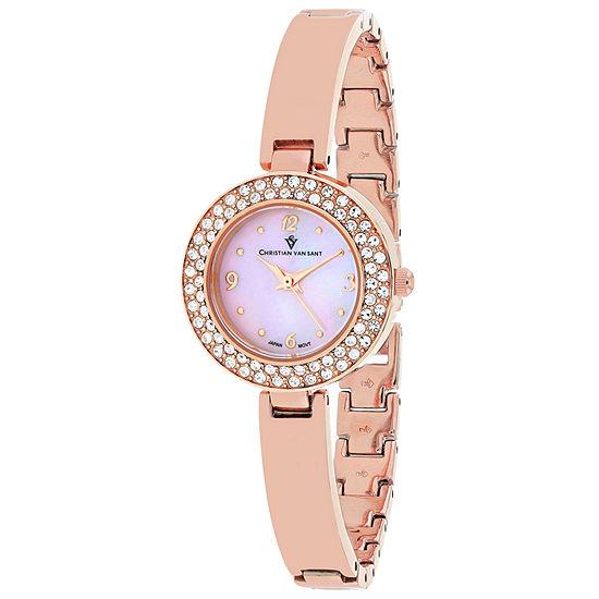Christian Van Sant Womens Rose Goldtone Stainless Steel Bracelet Watch-Cv8614