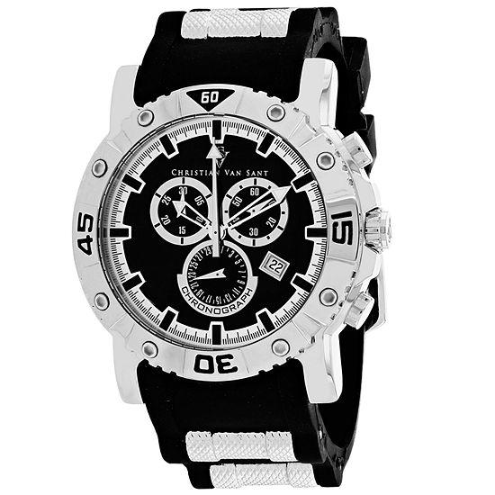 Christian Van Sant Mens Black Leather Strap Watch-Cv0510
