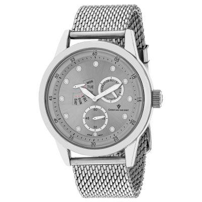 Christian Van Sant Mens Silver Tone Bracelet Watch-Cv8710