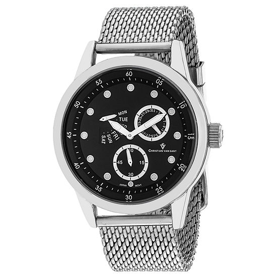 Christian Van Sant Mens Silver Tone Stainless Steel Bracelet Watch-Cv8711