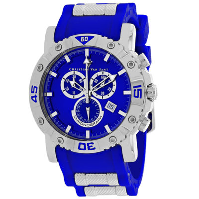 Christian Van Sant Mens Blue Strap Watch-Cv0512