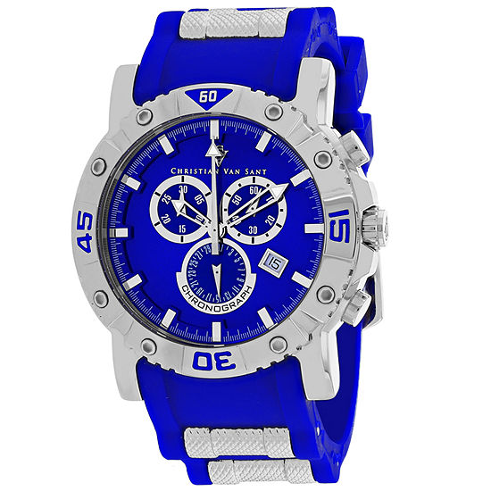Christian Van Sant Mens Blue Leather Strap Watch-Cv0512