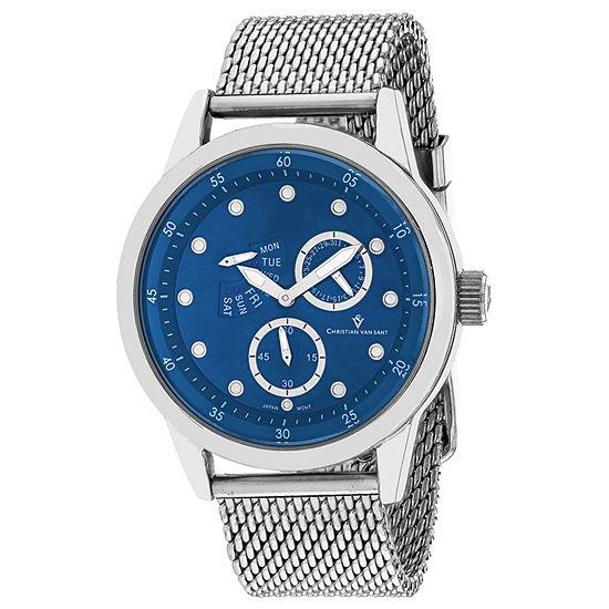 Christian Van Sant Mens Silver Tone Stainless Steel Bracelet Watch-Cv8712