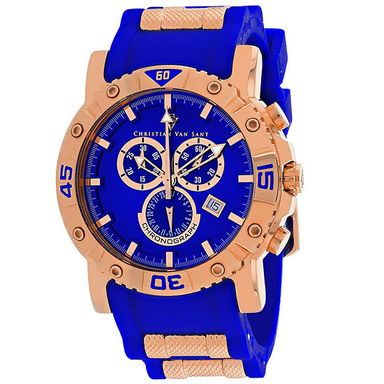 Christian Van Sant Mens Blue Leather Strap Watch-Cv0513