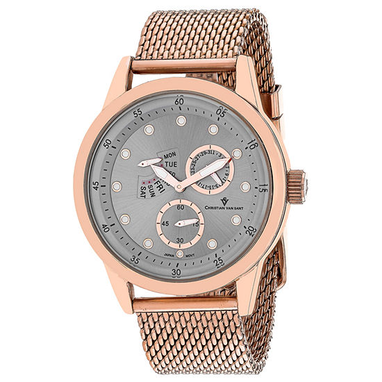 Christian Van Sant Mens Rose Goldtone Stainless Steel Bracelet Watch-Cv8713