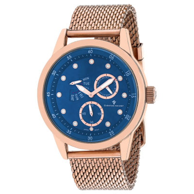 Christian Van Sant Mens Rose Goldtone Bracelet Watch-Cv8715