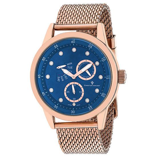 Christian Van Sant Mens Rose Goldtone Stainless Steel Bracelet Watch - Cv8715