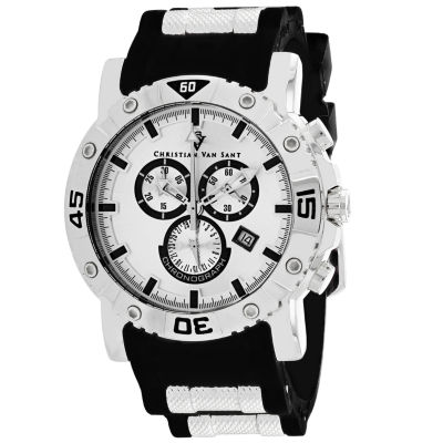 Christian Van Sant Mens Black Strap Watch-Cv0515