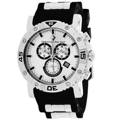 Christian Van Sant Mens Black Strap Watch-Cv0515