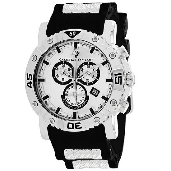 Christian Van Sant Mens Black Leather Strap Watch-Cv0515