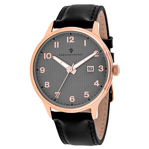 Christian Van Sant Mens Black Strap Watch-Cv9810