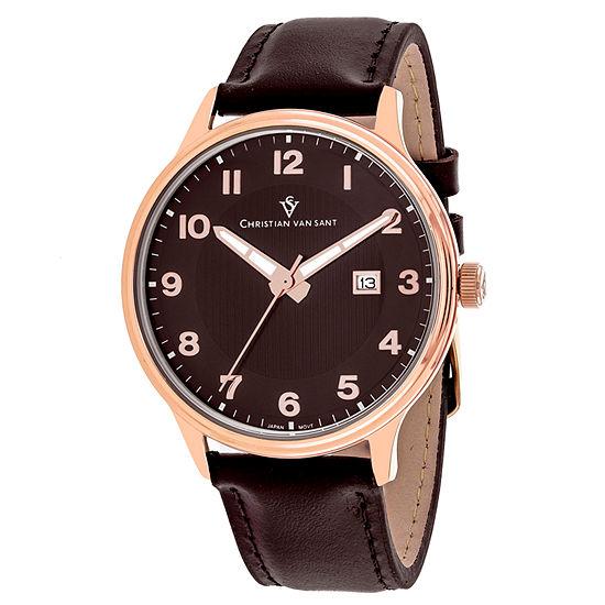 Christian Van Sant Mens Brown Leather Strap Watch-Cv9811