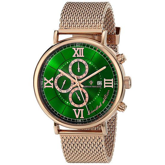 Christian Van Sant Mens Automatic Rose Goldtone Stainless Steel Bracelet Watch-Cv1130