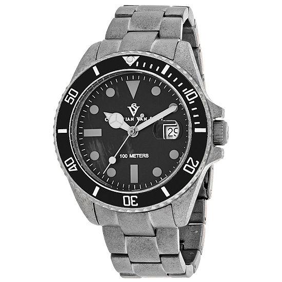 Christian Van Sant Mens Silver Tone Stainless Steel Bracelet Watch-Cv5100b