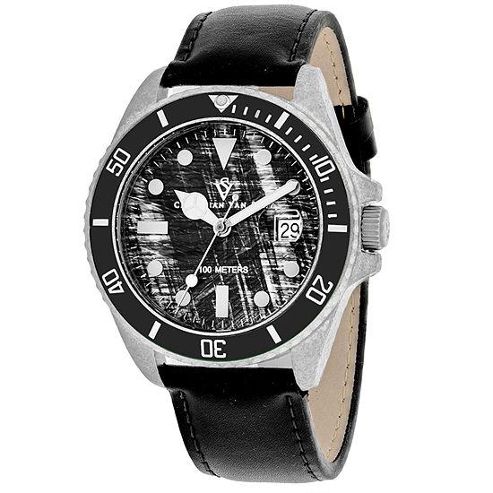 Christian Van Sant Mens Black Leather Strap Watch-Cv5100lb