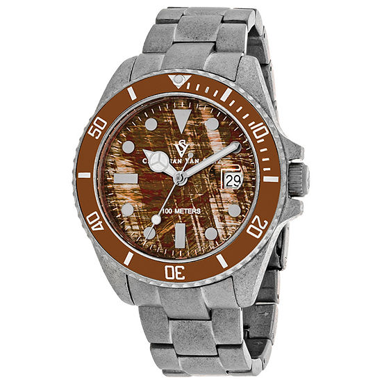 Christian Van Sant Mens Silver Tone Stainless Steel Bracelet Watch-Cv5101b