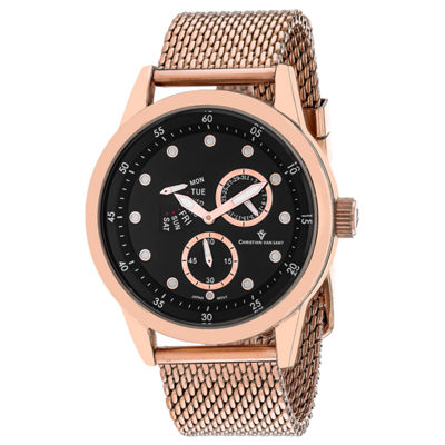 Christian Van Sant Mens Rose Goldtone Bracelet Watch-Cv8714