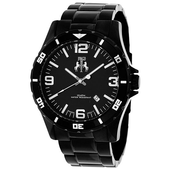 Jivago Mens Black Stainless Steel Bracelet Watch-Jv6110