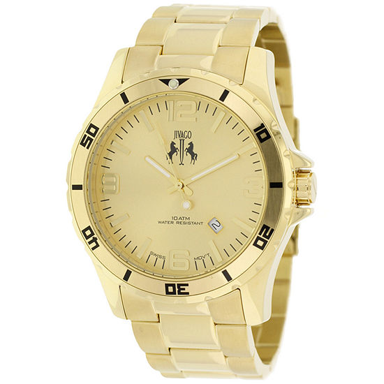 Jivago Mens Gold Tone Bracelet Watch Jv6114