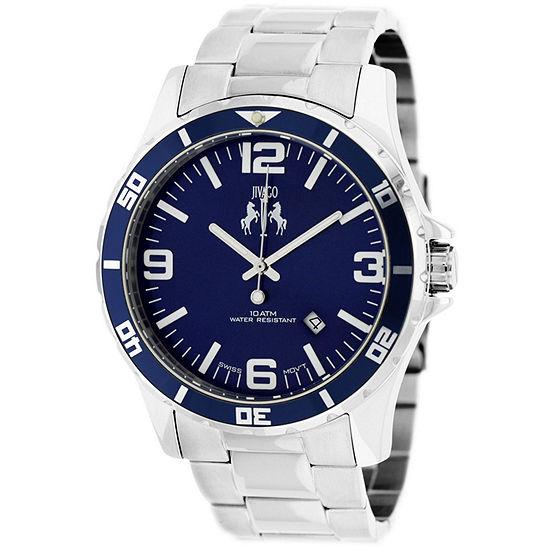 Jivago Mens Silver Tone Stainless Steel Bracelet Watch-Jv6116